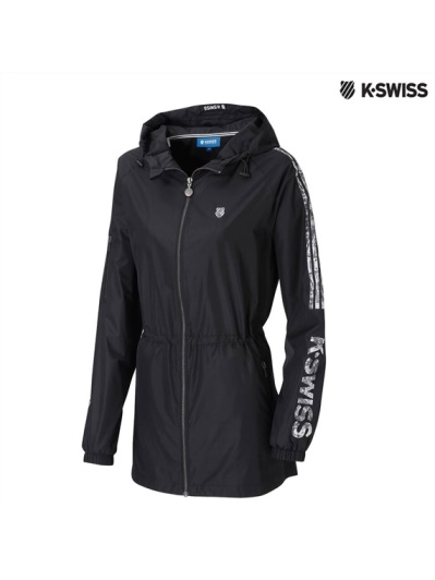 K-Swiss Print Long Windbreaker風衣外套-女-黑