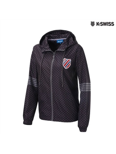 K-Swiss Star Print Windbreaker風衣外套-女-黑