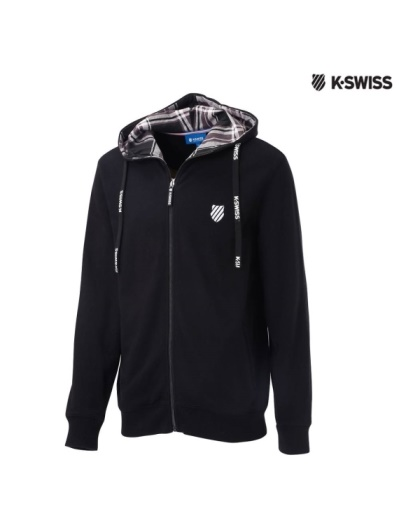 K-Swiss Hoodie Sweat Jacket格紋連帽外套-男-黑